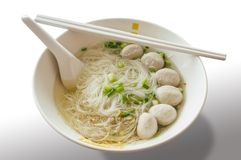Rice vermicelli in thin soup. And meatball Royalty Free Stock Photography