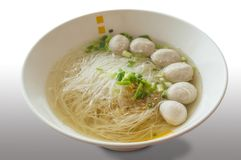 Rice vermicelli in thin soup. And meatball Stock Photography