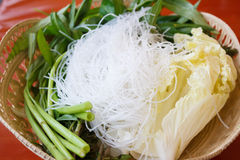 Rice Vermicelli with Vegetable for bioled Royalty Free Stock Photography