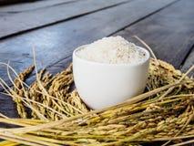 Rice w białym kolcu i filiżance Obraz Stock