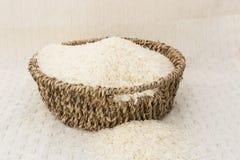 Rice w brown koszu obrazy royalty free