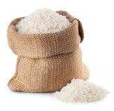 Rice w burlap torbie fotografia royalty free