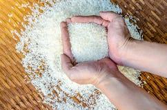 Rice w ręce Obfitość ryż w ręce Zdjęcie Stock