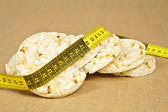 Rice wafers. Fresh and crispy round dietary rice wafers royalty free stock images