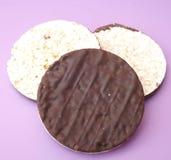Rice waffles with chocolate Stock Photos