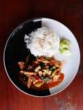 Rice, warzywa, chili curry, kurczak, kale fotografia royalty free