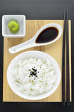 Rice with wasabi and chopsticks Royalty Free Stock Photography