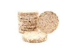 Rice, wheat bread isolated over white background. For any purpose royalty free stock photography
