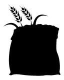 Rice wheat in sack silhouette icon Royalty Free Stock Photography