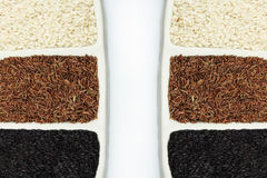 Rice white, black and brown Stock Photo