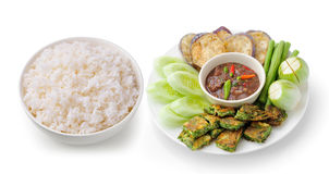 Rice in a white bowl Chili paste thai style Stock Photo