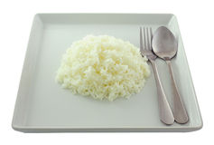Rice in white plate. Stock Photos
