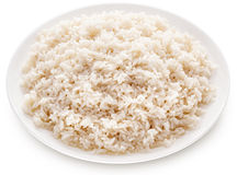 Rice on a white plate. Stock Photos