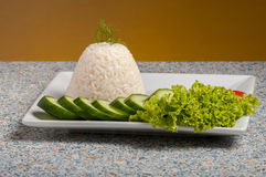 Rice on white plate Stock Photo