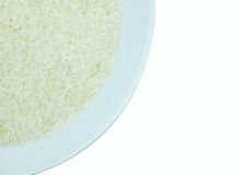 Rice in a white plate on white background isolate. Rice in white plate on white background isolate Stock Photography