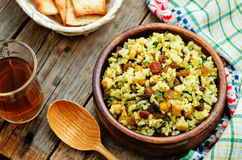 Rice, wild rice, chickpeas with raisins and herbs Royalty Free Stock Images