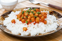 Rice With Chickpeas In Tomato Sauce Stock Photos