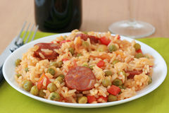 Rice With Sausages And Vegetables Stock Images