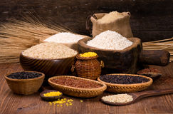 Rice in a wooden bowl Royalty Free Stock Photo