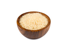 Rice in wooden bowl Royalty Free Stock Photography