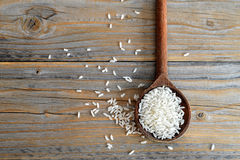 Rice in wooden spoon Stock Photography