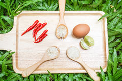 Rice in wooden spoon with food ingredients. On the tray with green grass background Royalty Free Stock Images