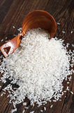 Rice on wooden table Royalty Free Stock Photo