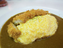Rice wrapped eggs with fried pork tonkatsu curry Stock Photos