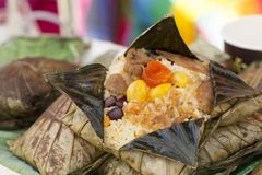 The rice wrapped in Lotus leaf. The rice wrapped in Lotus leaf, Thai food royalty free stock photo