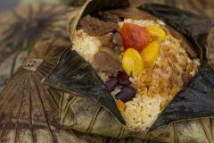 The rice wrapped in Lotus leaf. The rice wrapped in Lotus leaf, Thai food stock photo