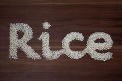 `Rice` written with rice stock photography