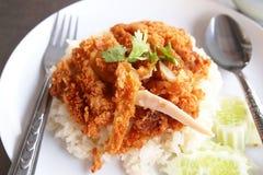 Rice z kurczakiem smażącym Obraz Royalty Free