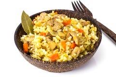 Rice z marchewkami, kurczakiem i pikantność, obraz royalty free