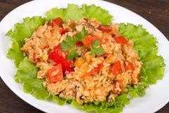 Rice z warzywami i kurczakiem w curry'ego kumberlandzie Obrazy Stock