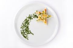 Rice z warzywami kłaść out w postaci gwiazdy Zdjęcie Stock