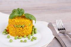 Rice z zielonymi grochami Zdjęcie Royalty Free