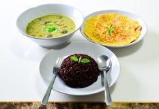 RiceBerry con la tortilla verde del curry y de la salchicha Foto de archivo