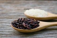 Riceberry i Jaśminowi ryż w drewnianej łyżce fotografia royalty free