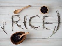 Riceberry pour le bon ingrédient de nourriture propre sain Image stock