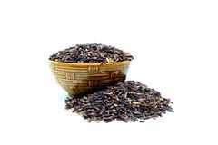Riceberry, riso del gelsomino, riso sbramato, riso nero, isolato su fondo bianco Fotografia Stock
