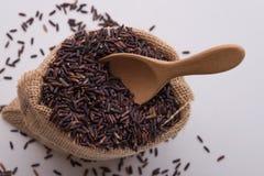 Riceberryrijst en lepel in zakken Royalty-vrije Stock Afbeelding