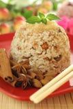 Riceefterrätt med mandelar Arkivfoto