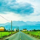 Ricefield und Berg stockfotografie