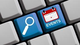 Ricerca degli eventi online Immagini Stock