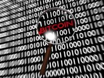 Ricerca dei fondi nascosti Bitcoin nelle cifre binarie Immagine Stock