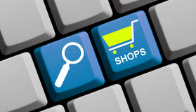 Ricerca dei negozi online Fotografie Stock