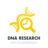 Ricerca del DNA, icona della genetica sopra bianco illustrazione vettoriale