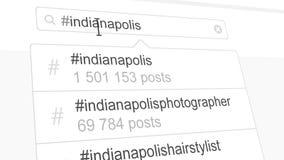 Ricerca del hashtag di Indianapolis tramite le poste sociali di media royalty illustrazione gratis