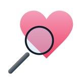 Ricerca del simbolo di vettore di amore Fotografie Stock