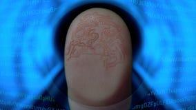 Ricerca dell'identificazione dell'impronta digitale per controllo di sicurezza sul concetto futuristico di HUD illustrazione di stock